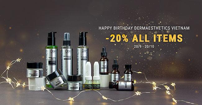 Giảm giá 20% + nhiều ưu đãi hấp dẫn mừng sinh nhật Dermaesthetics Việt Nam
